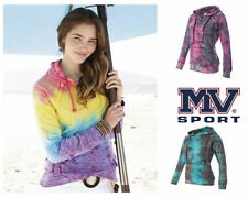 MV Sport Ladies Courtney Burnout V-Notch Hooded Sweatshirts S-2XL W1162 4 Colors