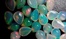 Calibrated Ethiopian Welo Opal Pear Cabochon Multi fire Loose Gemstone for sale