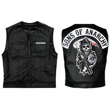 SONS OF ANARCHY Faux Leather SOA Embroidered Patch Top Rocker Biker Vest S-4XL