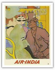 Paris France Moulin Rouge Vintage Airline Travel Art Poster Print Giclee