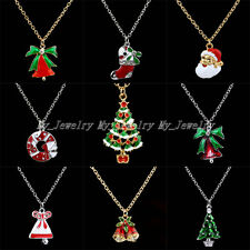 Fashion Cute Pendant Necklace Gift Jewelry Christmas Bell Santa Tree Boot Wreath