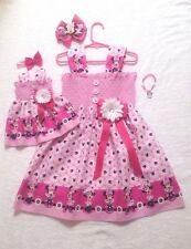 New Handmade Pink Minnie Mouse w/ Daisies (Toddler,Girls) Dress,Doll Dress,Bow