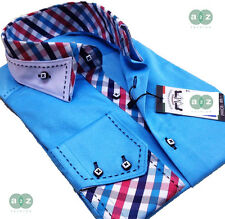 New Mens Formal Smart, Turquoise with White Italian Slim Fit Double Collar Shirt