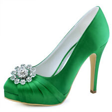 High Heel Wedding Evening Shoes Closed Toe Rhinestons Pleated Satin Party Pumps