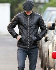 Genuine Cowhide Leather David Beckham Inspired Styling Black Quilted Jacket #583