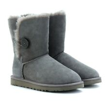 Ugg Australia Bailey Button Charcoal Grey Suede Shearling Mid Calf Boots