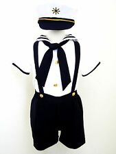 Baby Boy/ Toddler Formal Sailor Suit/Outfit/Costume- White & Navy- 2T,3T,4T