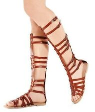 LADIES WOMENS KNEE HIGH GLADIATOR SANDALS CUT OUT FLAT STRAPPY SUMMER SHOES Tan