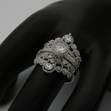 925 Sterling Silver Premium Micro Pave CZ Princess Crown Solitaire 3 Rings Set