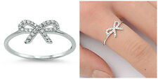 CUTE DESIGN!.925 STERLING SILVER 7MM BOW TIE RIBBON CLEAR CZ RING SIZES 4-10