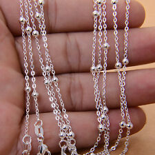 Wholesale 5pcs Fashion 925 Sterling Silver Round Bead Chain Necklace 16-30inch