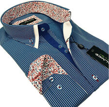 New Mens Smart Casual Blue & White Striped Double Collar Italian Slim Fit Shirt