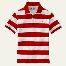 Timberland Men's Short Sleeve Millers River Striped Rugby Red Polo Style #8744J