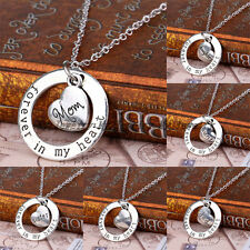 Retro Forever In My Heart Circle Love Family Member Heart Pendant Necklace Gifts