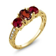 2.22 Ct Oval Red Garnet Red Created Ruby 18K Yellow Gold Plated Silver Ring