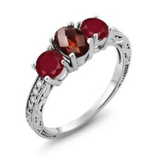 2.02 Ct Oval Checkerboard Red Garnet Red Ruby 18K White Gold Ring