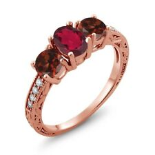2.02 Ct Oval Red Mystic Topaz Red Garnet 18K Rose Gold Plated Silver Ring