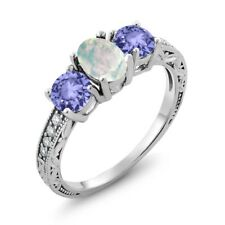 1.67 Ct Oval Cabochon White Opal Blue Tanzanite AAAA 925 Sterling Silver Ring