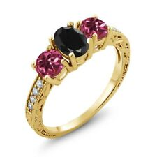 2.19 Ct Oval Black Sapphire Pink Tourmaline 18K Yellow Gold Plated Silver Ring