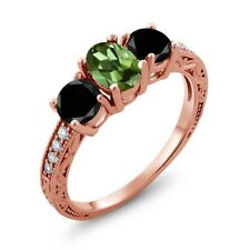 1.92 Ct Oval Green Tourmaline Black Diamond 18K Rose Gold Ring