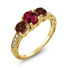 2.12 Ct Oval Red Created Ruby Red Garnet 18K Yellow Gold Plated Silver Ring