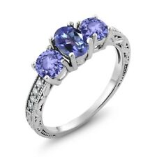 1.84 Ct Oval Purple Blue Mystic Topaz and Blue Tanzanite 14K White Gold Ring