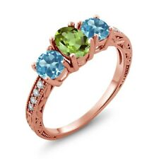 1.92 Ct Oval Green Peridot Swiss Blue Topaz 18K Rose Gold Plated Silver Ring