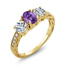 1.87 Ct Oval Purple Amethyst White Topaz 18K Yellow Gold Plated Silver Ring