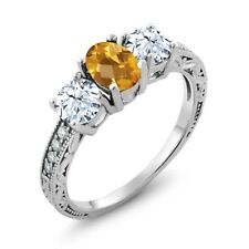 2.32 Ct Oval Checkerboard Yellow Citrine 18K White Gold Ring