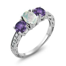 1.65 Ct Oval Cabochon White Simulated Opal Purple Amethyst 14K White Gold Ring