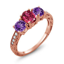 1.87 Ct Oval Pink Tourmaline Purple Amethyst 18K Rose Gold Plated Silver Ring