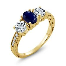 2.14 Ct Oval Blue Sapphire White Topaz 18K Yellow Gold Plated Silver Ring