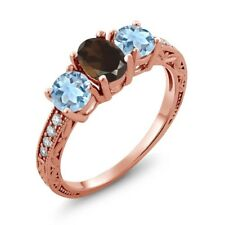 1.87 Ct Oval Brown Smoky Quartz Sky Blue Topaz 18K Rose Gold Plated Silver Ring