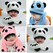 Nice Winter Baby Girl Boy Warm Cute Panda style Hat Cap Beanie Scarf Set