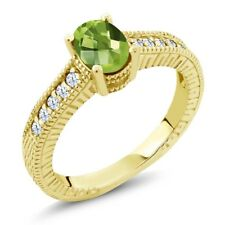 1.30 Ct Oval Checkerboard Green Peridot 18K Yellow Gold Engagement Ring