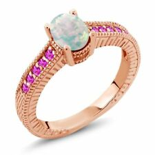 1.13 Ct Oval White Simulated Opal Pink Sapphire 18K Rose Gold Plated Silver Ring