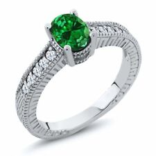 1.64 Ct Oval Green Simulated Emerald White Created Sapphire 18K White Gold Ring