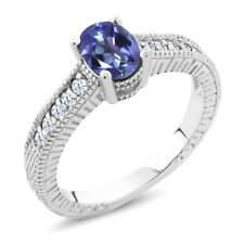 1.35 Ct Purple Blue Mystic Topaz White Created Sapphire 925 Silver Ring