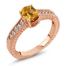 1.03 Ct Oval Checkerboard Yellow Citrine White Diamond 18K Rose Gold Ring