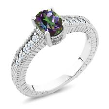 1.35 Ct Oval Green Mystic Topaz White Created Sapphire 925 Sterling Silver Ring
