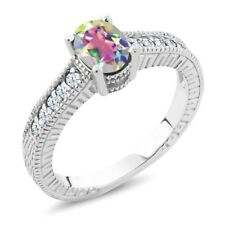 1.35 Ct Mercury Mist Mystic Topaz White Created Sapphire 925 Silver Ring