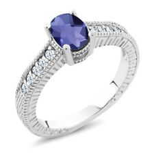 1.05 Ct Oval Checkerboard Blue Iolite White Created Sapphire 18K White Gold Ring