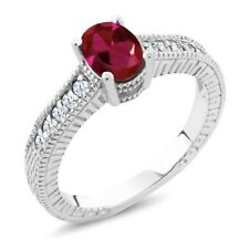 1.34 Ct Oval Red Created Ruby White Created Sapphire 14K White Gold Ring