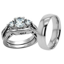 His Hers 3 Piece Men Women Stainless Steel Wedding Engagement Ring Set cz