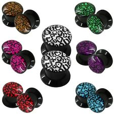 Flesh Tunnel Ear Plug Piercing Gauge Leopard Animal Print Acrylic Double Flared