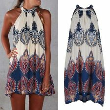 Womens Summer Sleeveless Chiffon Evening Sexy Party Cocktail Short Mini Dress