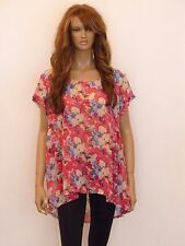 New womens pink and ivory floral print sheer plus size top blouse size 16-26
