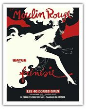 Paris Moulin Rouge France Dance Girls Vintage Theater Art Poster Print Giclee