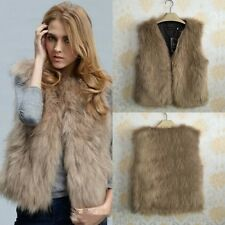 Winter Womens Fox Faux Fur Vest Sleeveless Coat Jacket Waistcoat Outwear SOZ