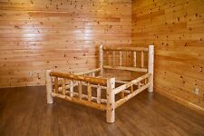 Rustic White Cedar Log Mission Style Bed- Amish Made USA- Clear Coat